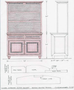 Steve's initial design for the dining hutch:  a contemporary take on a traditional form.